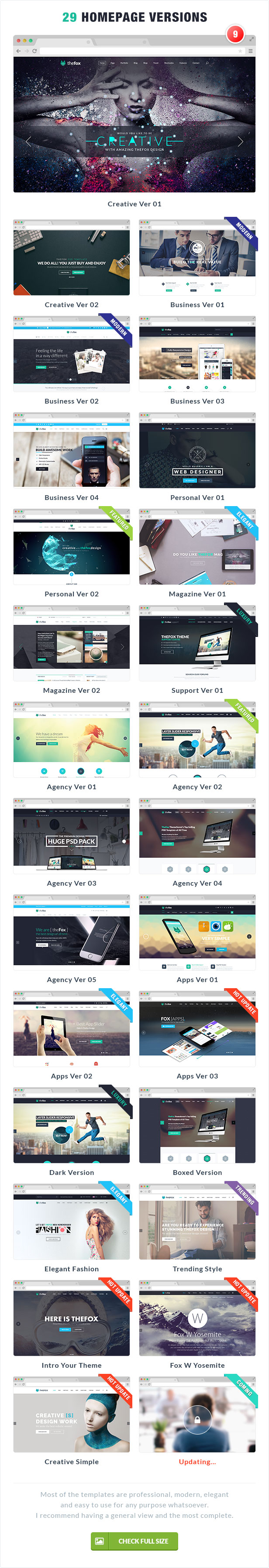 29 elegant homepage version - business - personal - agency - apps - creative - magazine - support - thefox psd download - professional