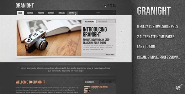 Granight PSD Web Template