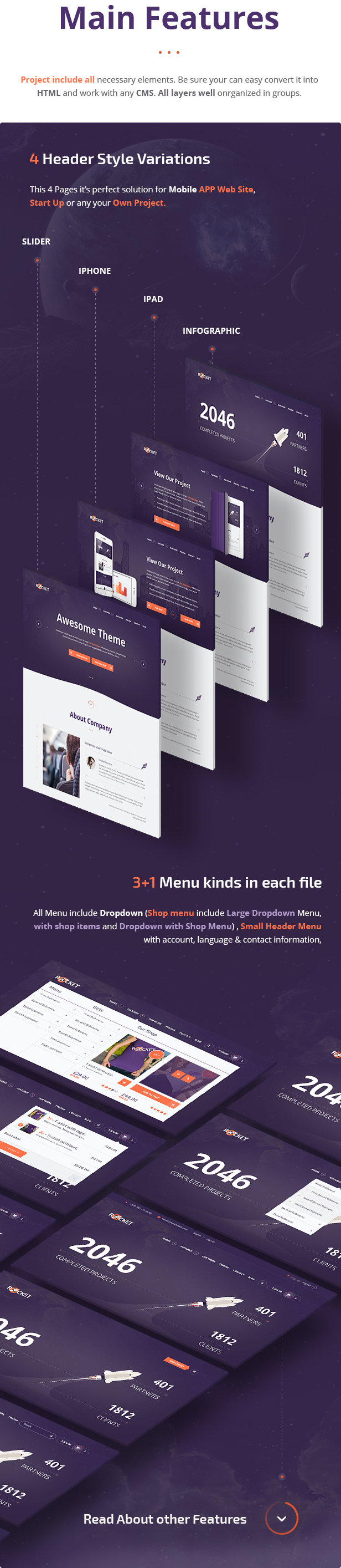 Rocket Responsive Bootstrap 3 Creative Multipurpose PSD Template