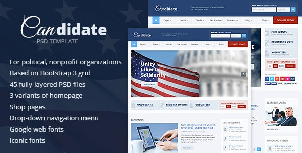 Candidate - Political / Nonprofit PSD Template