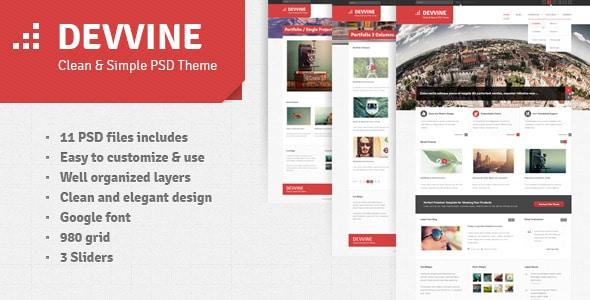 Devvine - Modern and Clean PSD Theme