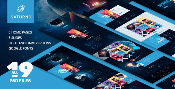 Saturno |  Space Design | Portfolio | Dark and Light  | PSD template
