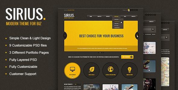 Sirius - Clean Style Portfolio PSD Template