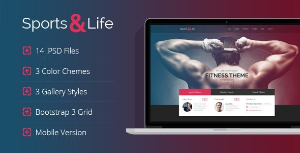 Sports&Life - Gym & Fitness PSD Template