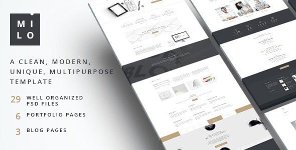 Milo  –  Clean & Modern Multipurpose PSD Template