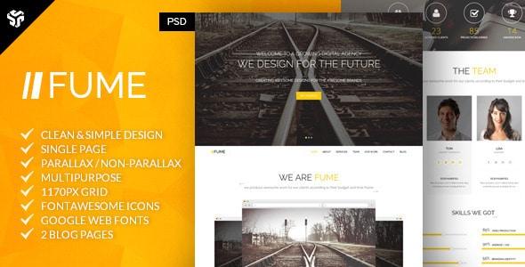 Fume | Multi-Purpose Parallax PSD Landing Page