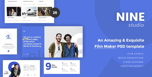 Nine Studio - An Amazing & Exquisite Film Maker PSD Template