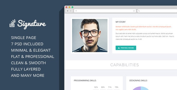Signature - OnePage Personal Resume PSD Theme