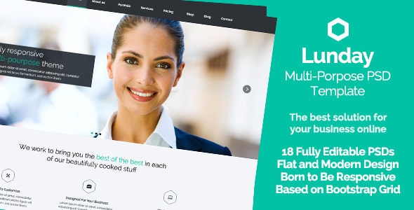 Lunday - Multi-Pourpose PSD Template - Flat Design