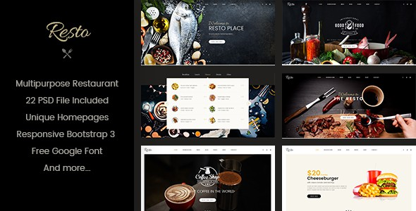 Resto | Multipurpose Restaurant & Cafe PSD Template