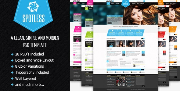 SPOTLESS - Clean & Simple Premium PSD Template