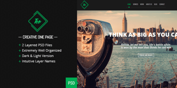 Teo - Single Page PSD Template
