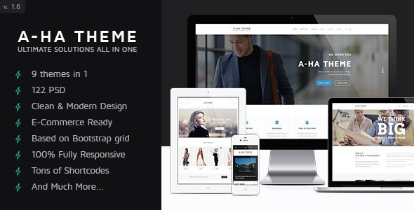 A-ha Theme – Ultimate Multi-Purpose PSD Template