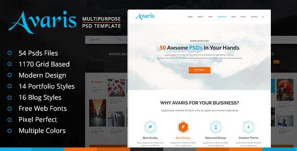 Avaris | Multipurpose PSD Template