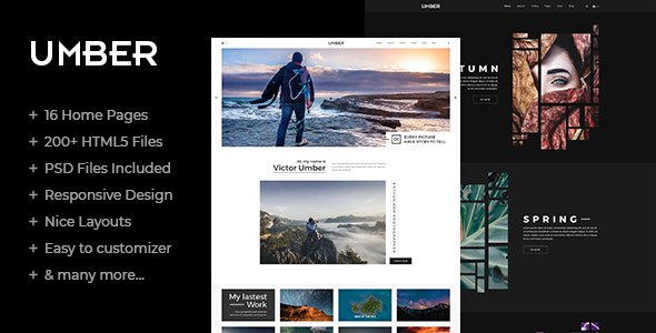 Umber Photography is a clean and creative HTML5/C33 template suitable for Photography, Personal Portfolio website, etc . You can customize it very easy to fit your needs.