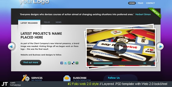 #2 Folio web 2.0 style, PSD theme