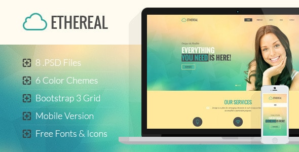 Ethereal - Multipurpose Onepage PSD Template
