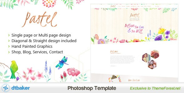 Pastel - Hand Painted Floral PSD