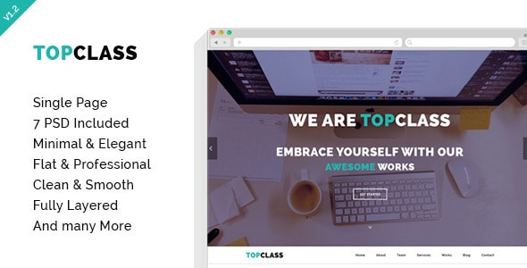 TOPCLASS - OnePage Creative PSD Template