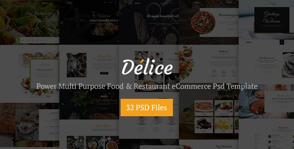 Delice - Power Multi Purpose Food & Restaurant Psd eCommerce Template