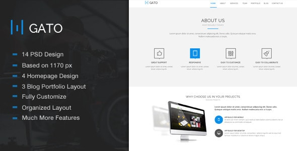Gato - Amazing One Page Psd Template