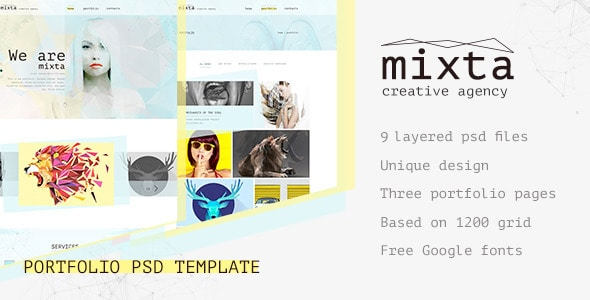 Mixta — Creative Agency, Portfolio PSD Template