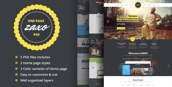 ZAXO - One Page PSD Template