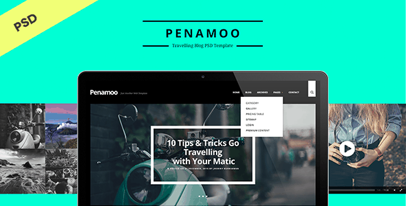 PENAMOO - Traveling Blog PSD Template