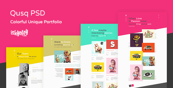 Qusq PSD - Colorful Unique Portfolio