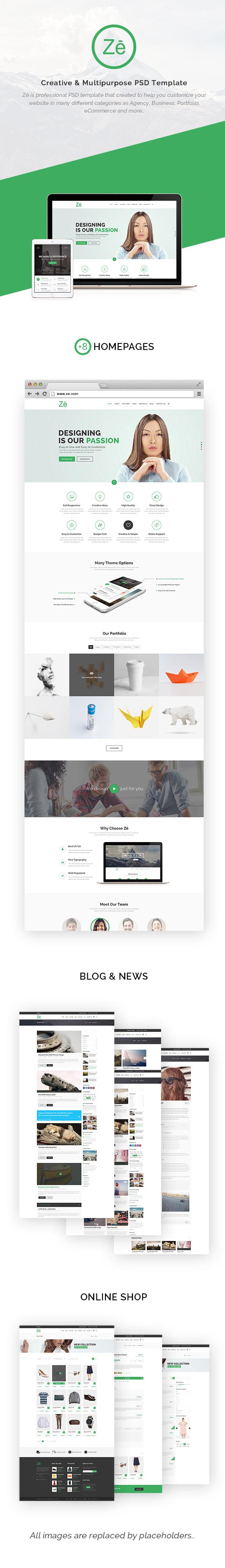 Ze - Creative & Multipurpose PSD Template. - 6