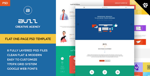 Buzz - Flat OnePage PSD Template