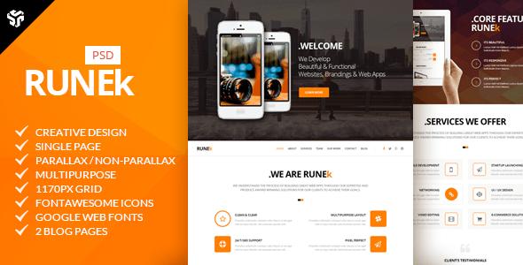 Runek | Multi-Purpose Parallax PSD Landing Page