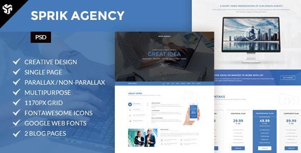 Sprik | Multi-Purpose Parallax PSD Landing Page