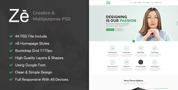 Ze - Creative & Multipurpose PSD Template.