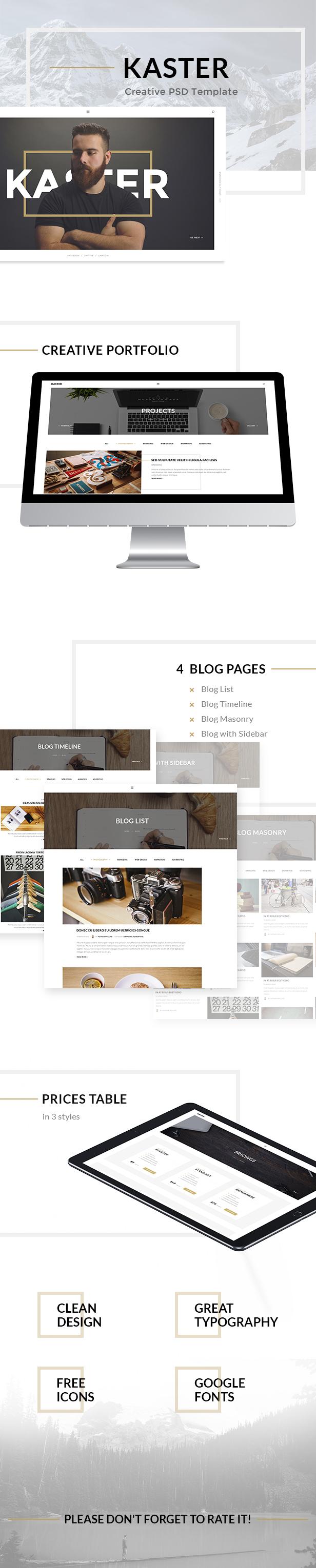 Kaster — Multipurpose Creative Agency, Personal Portfolio, Modern Blog PSD Template - 1