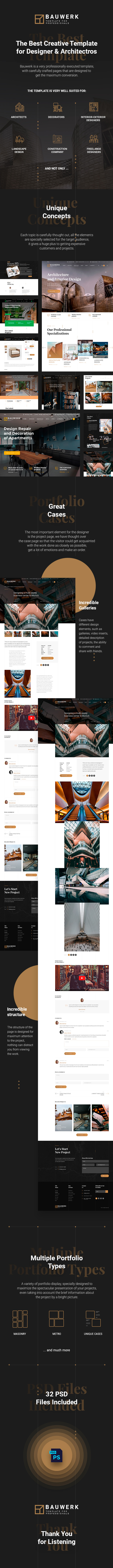 Bauwerk | Interior Design & Architecture PSD Template - 1