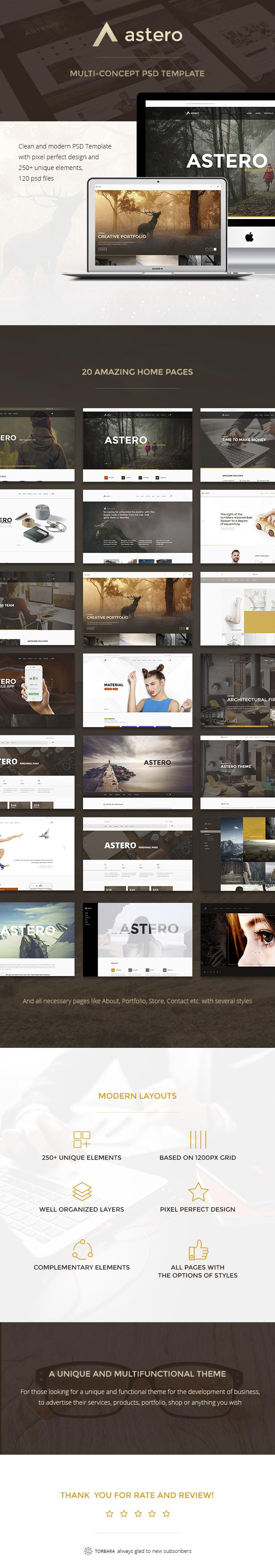 Astero — Multipurpose Portfolio | Blog | Store PSD Template - 1