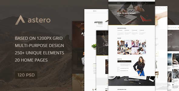 Astero — Multipurpose Portfolio | Blog | Store PSD Template