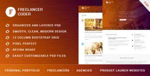Freelancer Coder - One Page Portfolio PSD Template