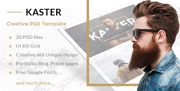 Kaster — Multipurpose Creative Agency, Personal Portfolio, Modern Blog PSD Template