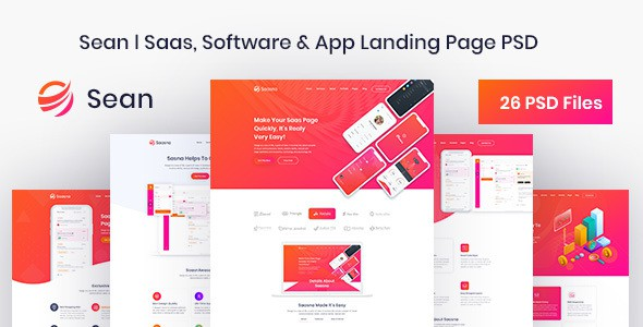 Sean - Saas, Software & App Landing Page PSD Template