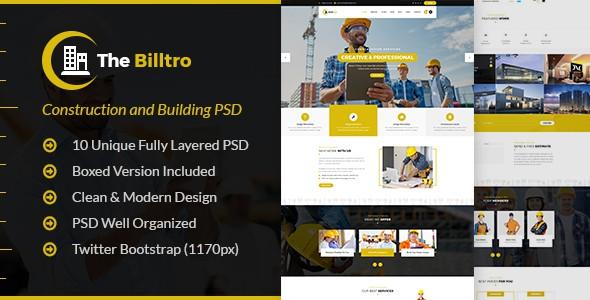 The Billtro - Construction PSD Template