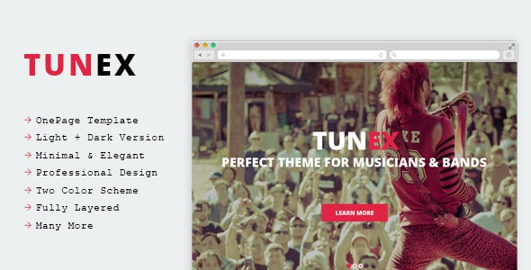 TUNEX - Music & Entertainment PSD Template
