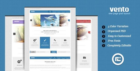 Vento - Single Page Portfolio PSD Layout