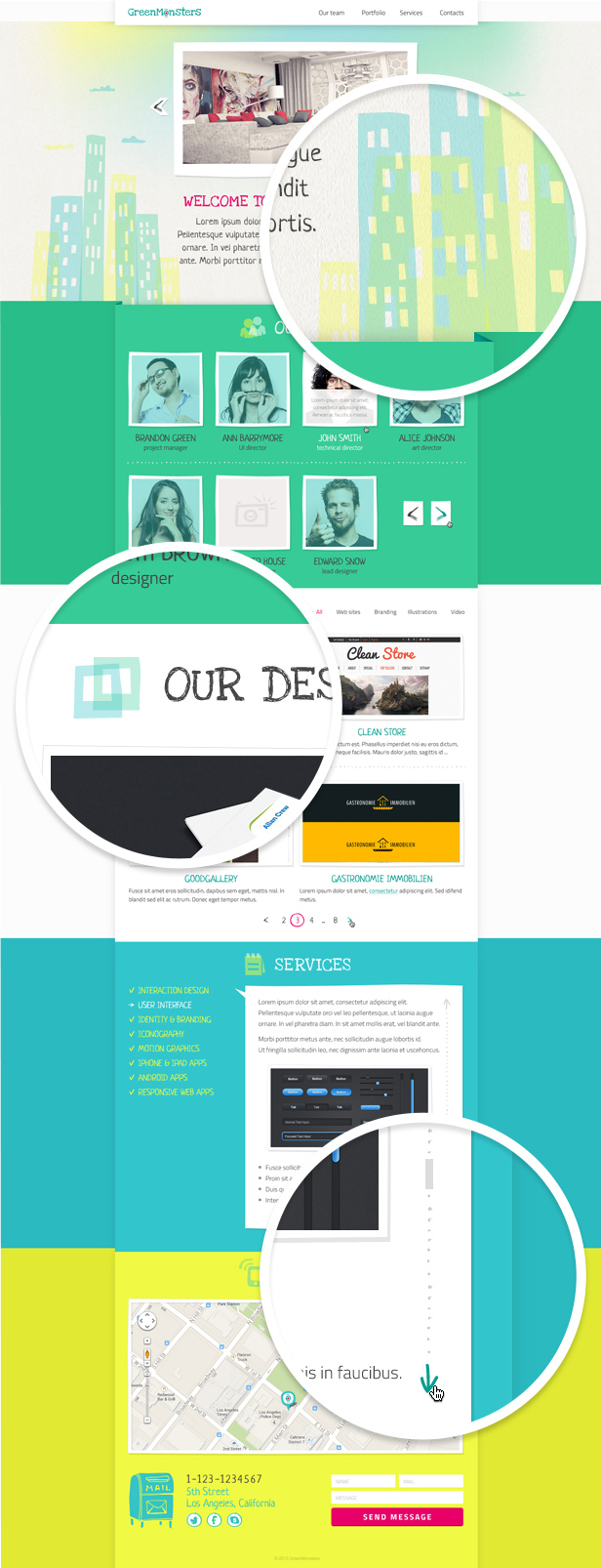 GreenMonsters One Page PSD Template  - 5