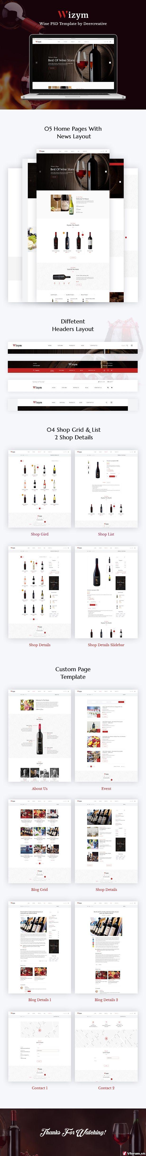 Wizym | Wine & Winery PSD Template - 1