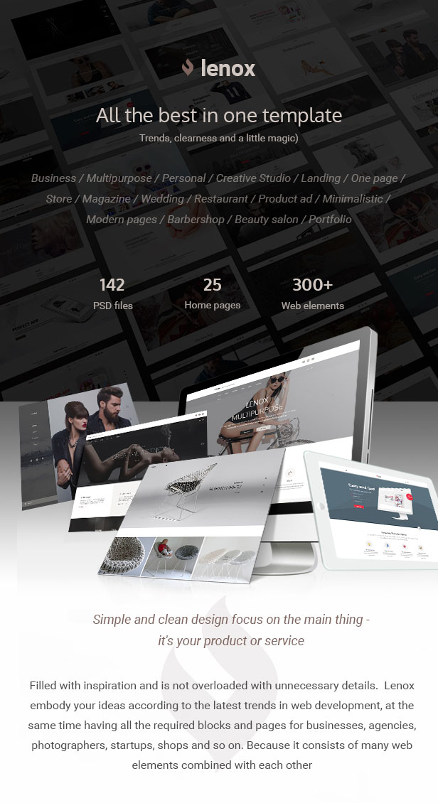 Lenox — Creative MultiConcept PSD Template - 2