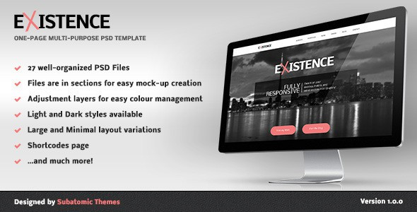 Existence - One-Page Multi-Purpose PSD Template