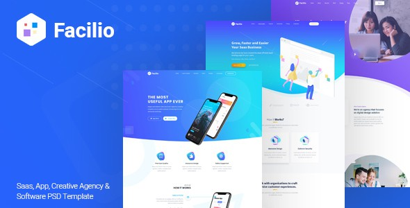 Facilio - Saas, App, Creative Agency and Software PSD Template