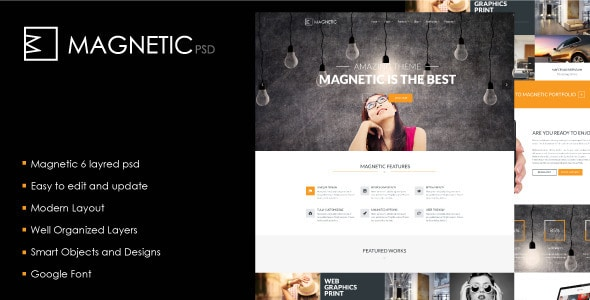 Magnetic. PSD Template.